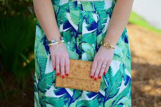 Palm Print skirt + cork clutch