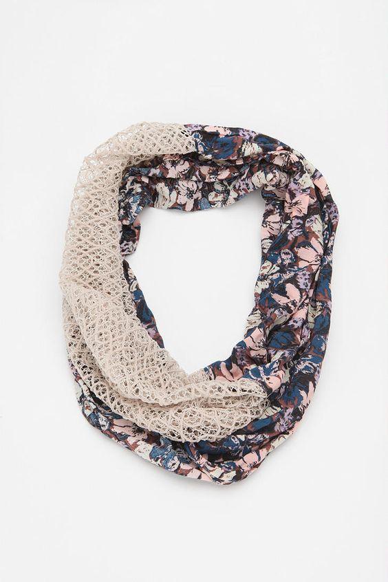 crochet/fabric scarf