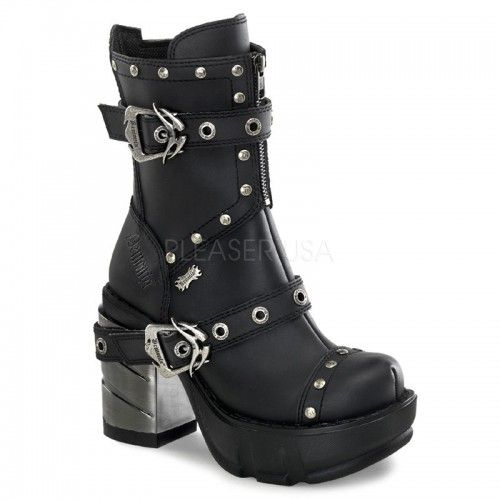 Sinister 201 Black Matt PVC Ankle Length Boots with Chrome Chunky Heels and Multi Strap and Stud Detail