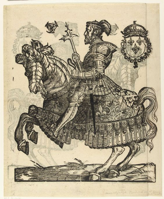 Cornelis Anthonisz. | Portret van Hendrik II van Frankrijk te paard, Cornelis Anthonisz., 1538 - in or after 1547 | Hendrik II in harnas te paard. Linksboven het embleem van Diane de Poitiers, rechtsboven het Franse koningswapen met de Orde van de heilige Michaël. Wapenschild waarschijnlijk later toegevoegd. Rechterzijde van oorspronkelijke prent afgesneden, bijgetekend met pen in zwart.