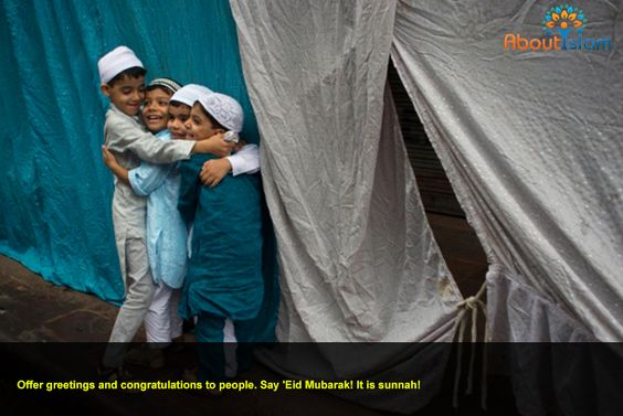Offer greetings and congratulations to people. Say 'Eid Mubarak! It is sunnah!