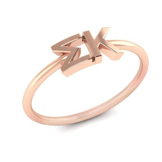 Sigma Kappa Rose Gold Thin Band Letter Ring