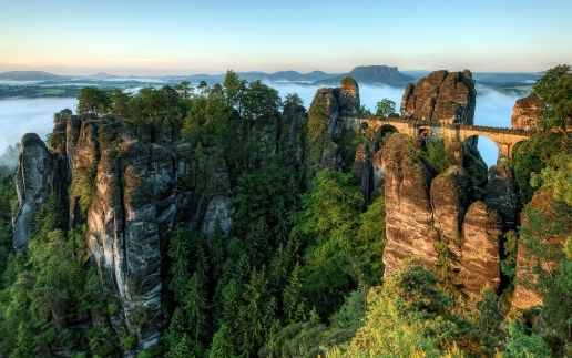 mountains nature trees Germany bridges Saxony