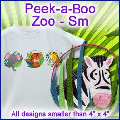 A Peek-a-Boo Zoo Design Pack - Sm design (X8425) from www.Emblibrary.com