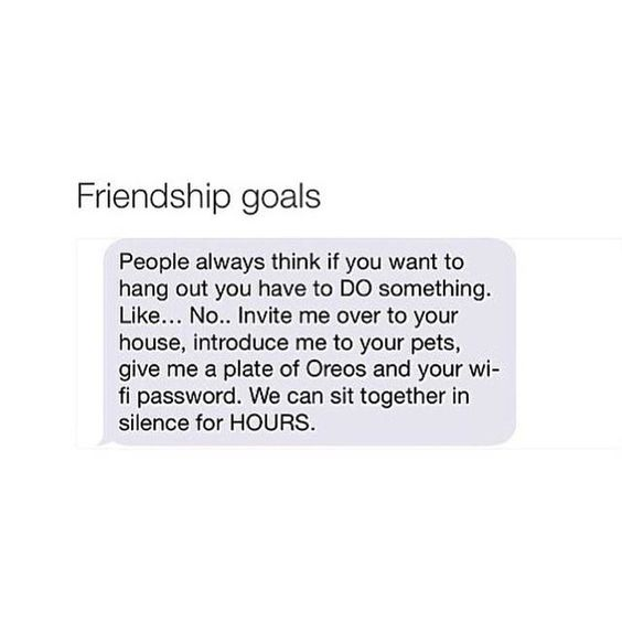 Friendship Goals: People always think if you want to hang out you have to DO something.  Like...No...Invite me over to your house, introduce me to your pets, give me a plate of Oreos and your wi-fi password.  We can sit together in silence for HOURS.