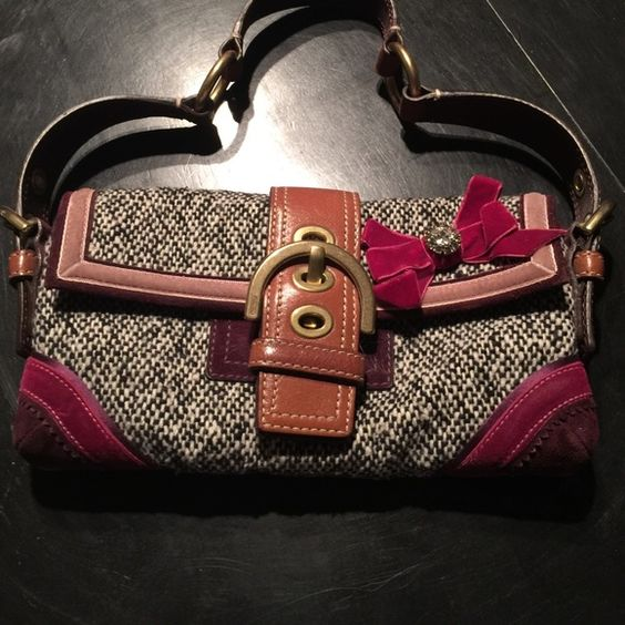 Adorable winter coach bag! Authentic! This coach bag is so unique and great for winter. Tweed and suede and crystal! Coach Bags