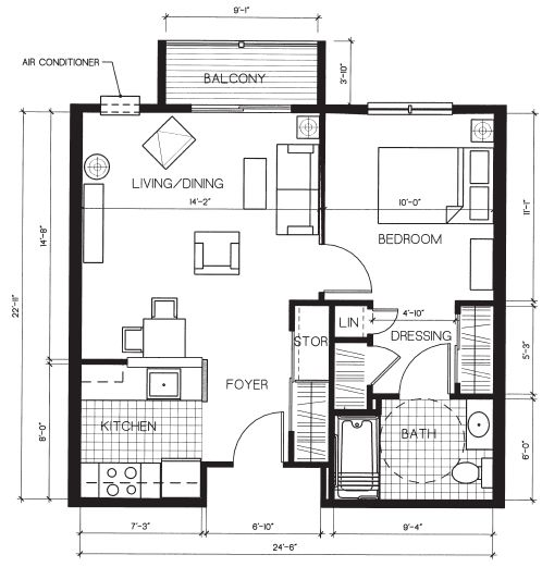 Great small home floor plan 552 sf p s simple quest for for Apartment plans 6 units