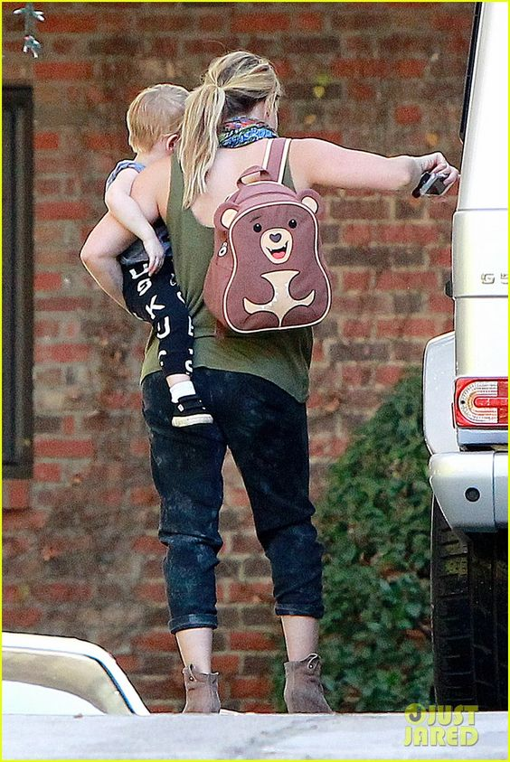 Hilary Duff takes her son Luca to a babies first class on January 16, 2014