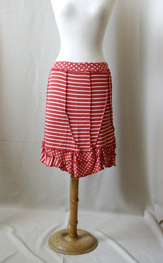 Sale Short red and white dots and stripes chaos by SolmodeDesign