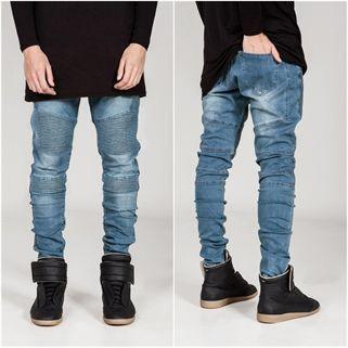 Biker Blue Denim Multifold Jeans