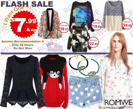 PROMOÇÃO Relâmpago #Romwe - 48 horas de ofertas Best Sellers com peças apartir de $7,99.   Super slim price flash sale!  Only 48 hours! Fashionable best sellers!  $7.99 up! Don't miss, girls!