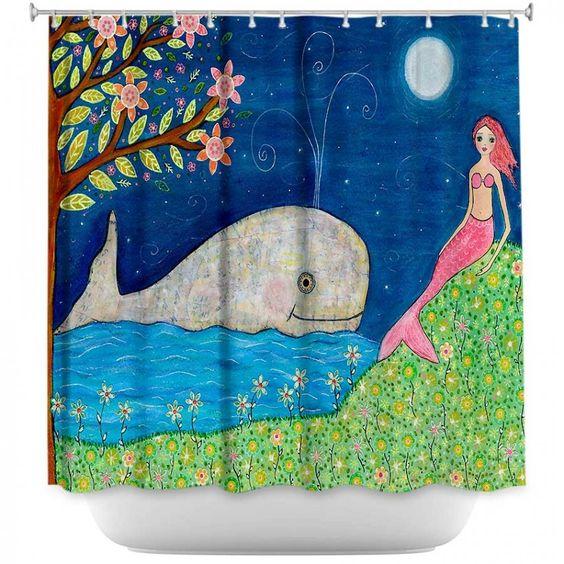 Shower Curtains Artistic Decorative Designer Unique   Sascalia's Whale Mermaid