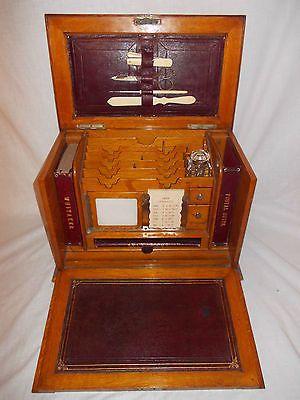Antique Victorian Tiger Oak Writing Slope Stationery Box Compendium Lock Key | eBay