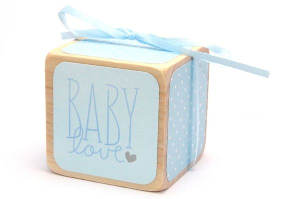 Baby Shower Gift  Wooden Baby Block  Baby Blue  by Booksonblocks