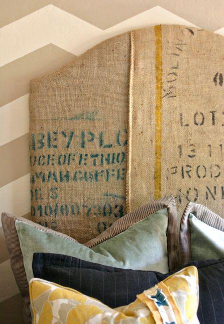 Hessian coffee bean sack headboard http://www.myhomerocks.com/2012/04/the-vintage-label-effect/