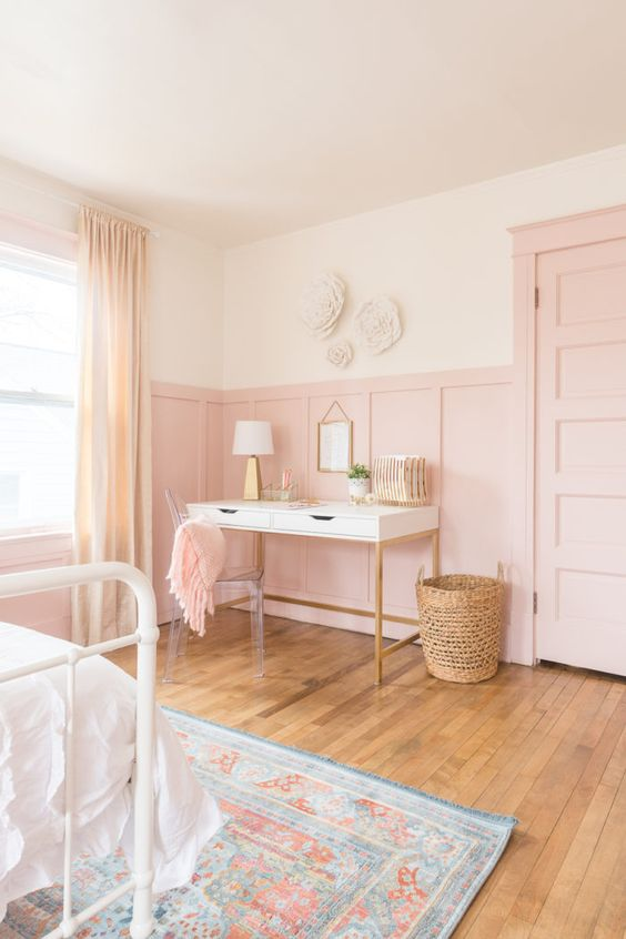 pink board and batten with white walls