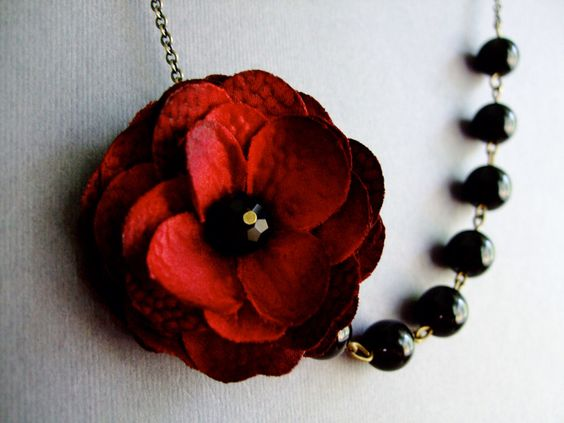 Wedding Jewelry Set,Statement Necklace,Dark Red Fabric Flower Necklace,Bridesmaid Jewelry Set,Black Pearl Jewelry,Holiday Gift,Red Jewelry by RachelleD on Etsy https://www.etsy.com/listing/110574455/wedding-jewelry-setstatement