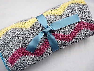 Handmade #crochet baby #blanket  baby #shower gift zig zag multi coloured with wo,  View more on the LINK: 	http://www.zeppy.io/product/gb/2/201527502294/