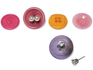 Never lose an earring again! Pair earrings through the holes of brightly-colored buttons to make them easier to find in packed jewelry boxes or on dressers. #earrings #lose #buttons