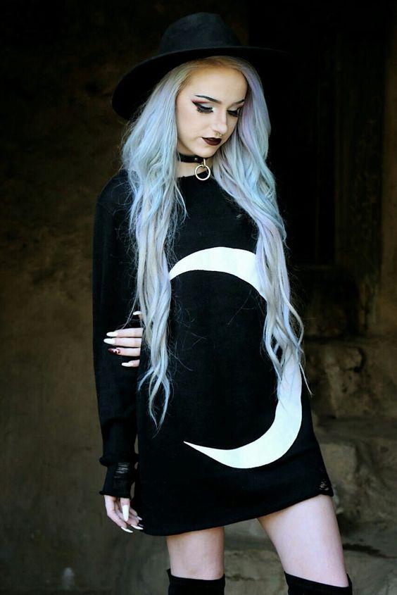 Goth Girl / Gothic Girls / Crescent Moon Goth Dress / light blue hair