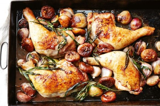 {Sticky port & fig chicken tray bake} Enjoy the sticky sweet flavours of roasted chicken in port and figs. A hint of lemon juice cuts through the sweet sauce to give balance.