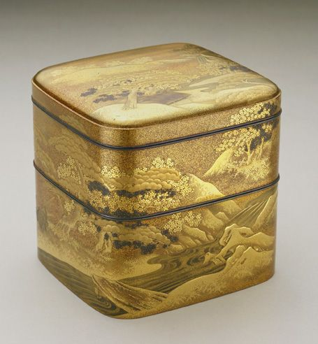 Incense box late 18th century Dogyoku , (Japanese, Edo period or Meiji era Lacquer, gold, silver, shell, and wood H: 11.3 W: 10.6 D: 11.3 cm Japan