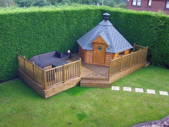 Bbq hut high standards and decking on pinterest for Garden hut sale