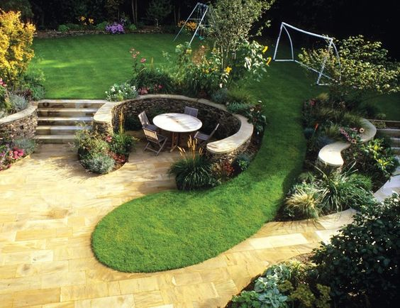 Split Level Landscaping With Steps Play Area For The