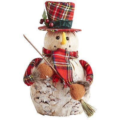 Beautifully dressed in classic plaid, our hand-crafted snowman adds a festive pop of color and to a mantel, entryway table or covered porch