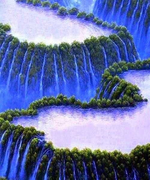 Stunning blue waterfall Havasu Falls Beaver Falls on Havasu Creek, Grand Canyon, Arizona