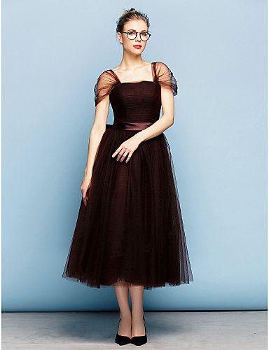 regresso a casa vestido de noite formal - vestido de bola de chocolate quadrado chá de comprimento de tule de 2016 por $149.99