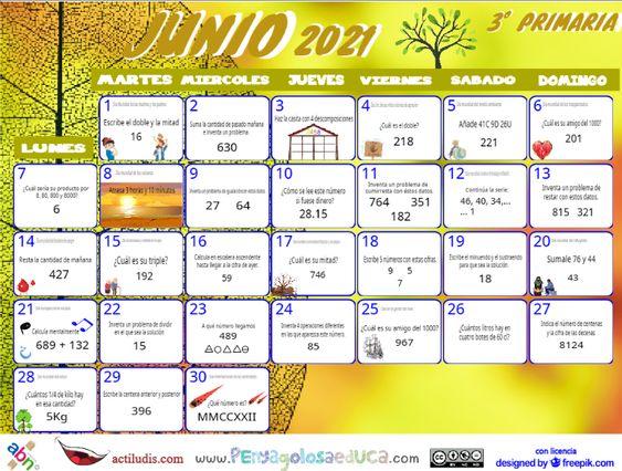Calendario Tercero ABN – Junio 2021