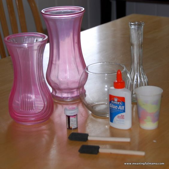Mix Elmer's glue with food coloring to paint onto anything glass to create a seaglass effect when dry. Now that's just cool. Elmer's Glue DIY Sea Glass