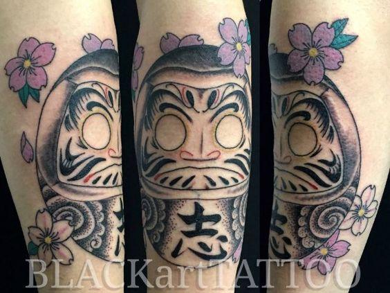 腕,桜,だるま,達磨,桜散らし,桜花,カラー,カラフルのタトゥーデザイン|タトゥーナビ