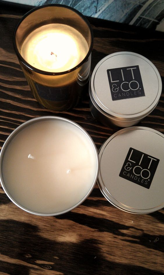 Pine Cone Natural Soy Candle in 16oz Travel Tin Candle by LitandCo, $26.50