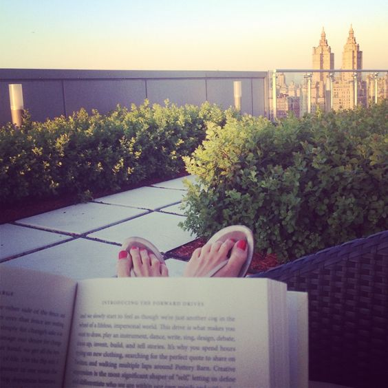 Reading on the rooftop
