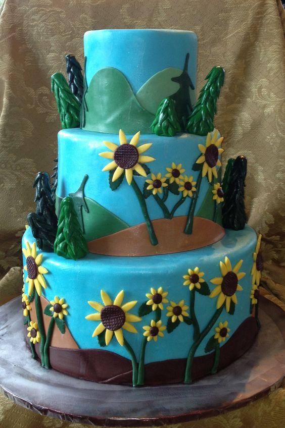 Sunflowers and Mountain Wedding Cake