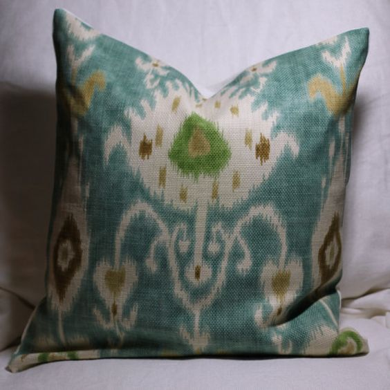 """20"""" Turquoise Ikat pillow cover"""