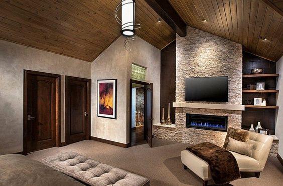 fixation murale tv, pierre de parement en tant qu'habillage de cheminée dans la…