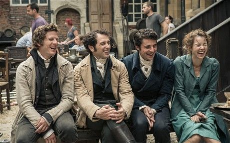 Love this photo! :) DCTP: behind the scenes. L to R, James Norton, Matthew Rhys, Matthew Goode and Anna Maxwell Martin.