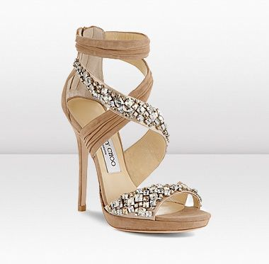 Jimmy Choo - Pleated Suede and Swarovski Crystal Embroidered Sandal