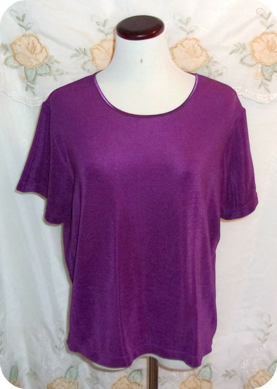 Claudia D Womens Top Size L Purple Short Sleeve Nylon Spandex #ClaudiaD #KnitTop #CareerCasual