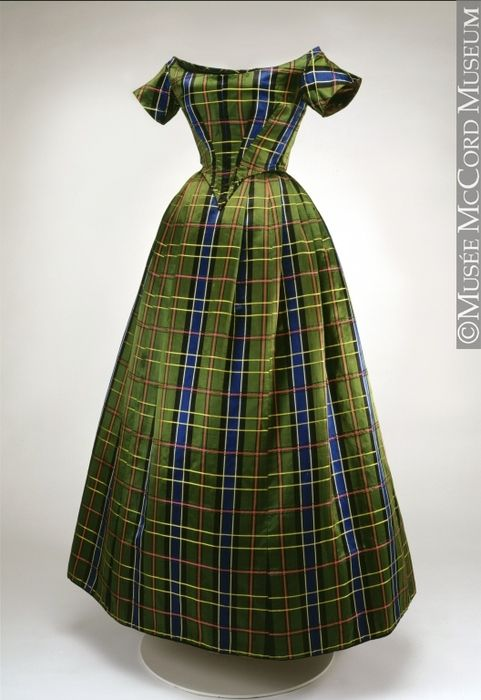 An exquisite Canadian plaid/tartan evening gown from circa 1860. The popularity of plaid exploded after Queen Victoria and Prince Albert chose Balmoral Castle in the Scottish Highlands as one of their royal residences: