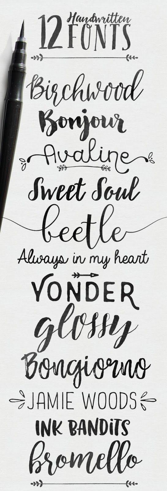 12 handwritten fonts, some free | Skyla Design
