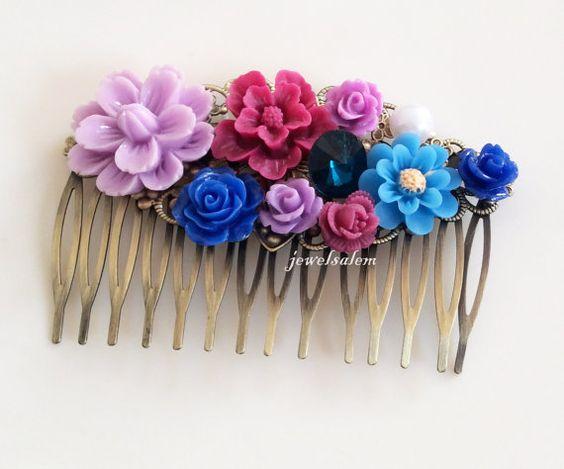 Wedding Hair Accessories Bridal Hair Comb Purple Blue Navy Lilac Floral Collage Flower Headpiece Sapphire Rhinestone Vintage Style Romantic