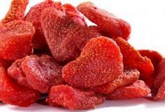 Dried Strawberries Halve or quarter the strawberries (depending on size) and bake in oven at 200 degrees F for 3 hours. These taste amazing, almost like candy and are very healthy for you! Yummy!:
