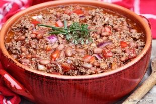 Turkey Chili low cal and NOT white.  Beans, eh, could take em or leave em!