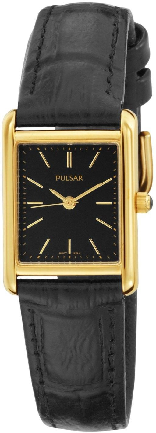 pulsar womens dress stainless black leather