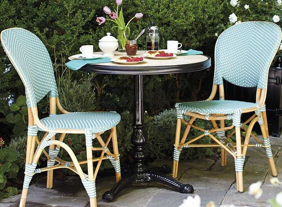 Create the allure of a French sidewalk cafe with our charming and comfortable Paris Bistro Dining Chairs.: Tables Chairs, Gardening Outdoors, Bistro Tables, Paris Apartments, Bistro Chairs, Outdoor Room, Outdoor Tables, Studio Apartment