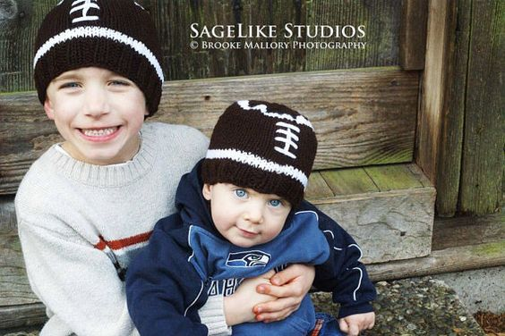 FREE SHIPPING / Football Hat: Hand Knit